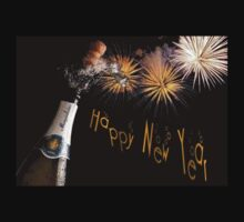 Happy New Year Greeting With Champagne and Fireworks One Piece - Long Sleeve