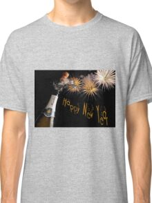 Happy New Year Greeting With Champagne and Fireworks Classic T-Shirt