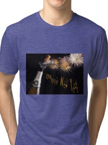 Happy New Year Greeting With Champagne and Fireworks Tri-blend T-Shirt