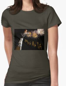 Happy New Year Greeting With Champagne and Fireworks Womens Fitted T-Shirt