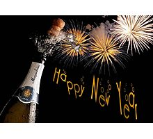 Happy New Year Greeting With Champagne and Fireworks Photographic Print