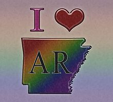 I Heart Arkansas Rainbow Map - LGBT Equality by LiveLoudGraphic