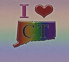 I Heart Connecticut Rainbow Map - LGBT Equality by LiveLoudGraphic