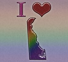 I Heart Delaware Rainbow Map - LGBT Equality by LiveLoudGraphic