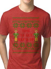 Get Elfd Up Buddy Elf Ugly Christmas Sweater Tri-blend T-Shirt