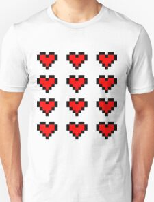 12 Pixel Hearts - Red Unisex T-Shirt