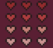 12 Pixel Hearts - Red Gradient by Autophobicat
