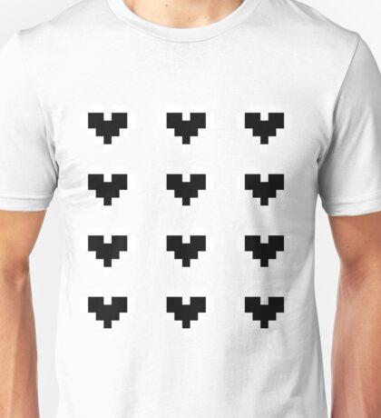 12 Pixel Hearts - Black Unisex T-Shirt