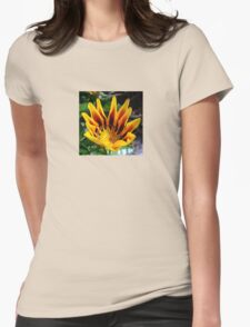 A Partially Opened Yellow and Burgundy Petal Gazania Womens Fitted T-Shirt