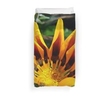 A Partially Opened Yellow and Burgundy Petal Gazania Duvet Cover