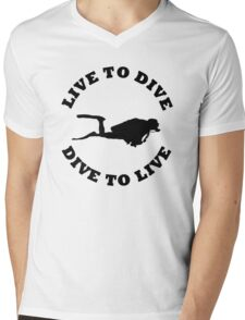LIVE TO DIVE DIVE TO LIVE BLACK SCUBA Mens V-Neck T-Shirt