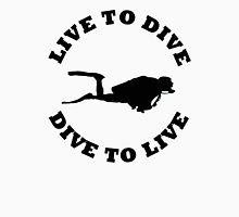LIVE TO DIVE DIVE TO LIVE BLACK SCUBA T-Shirt