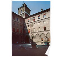 Courtyard with wells Este Palace Ferrara Italy 19840415 0073 Poster