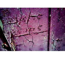 Graffiti scratched into an old phone box Photographic Print