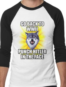 Courage Wolf - Go Back to WWII Punch Hitler In The Face Men's Baseball ¾ T-Shirt