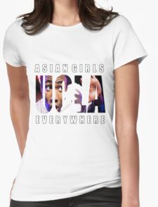 Asian Girls Everywhere (White Letters) Womens Fitted T-Shirt