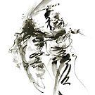 Samurai sword bushido katana short knife ninja shadow martial arts sumi-e original ink painting artwork by Mariusz Szmerdt