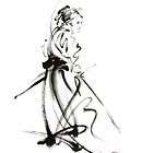 Samurai sword bushido katana martial arts sumi-e original ink painting artwork by Mariusz Szmerdt
