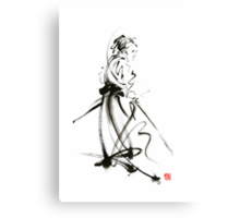 Samurai sword bushido katana martial arts sumi-e original ink painting artwork Canvas Print