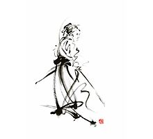 Samurai sword bushido katana martial arts sumi-e original ink painting artwork Photographic Print