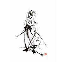 Samurai sword bushido katana martial arts sumi-e original ink painting artwork Photographic Print