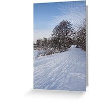 A Pale Blue Snowday  Greeting Card