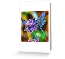 Blue Dragonfly on Wild Garlic Vector Greeting Card