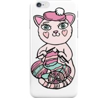Cute kitten in pink beret knitting scarf iPhone Case/Skin