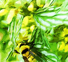 Honey Bee Gathering Pollen Abstract Impressionism by pjwuebker