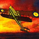 A digital painting of  a Handley Page 0/400 WWI biplane bomber by Dennis Melling