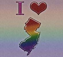 I Heart New Jersey Rainbow Map - LGBT Equality by LiveLoudGraphic