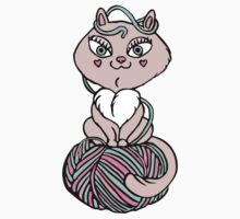 Pink kitten sit on yarn One Piece - Short Sleeve
