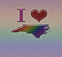 I Heart North Carolina Rainbow Map - LGBT Equality by LiveLoudGraphic