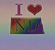 I Heart North Dakota Rainbow Map - LGBT Equality by LiveLoudGraphic