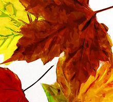 Autumn Leaves on White Abstract Impressionism by pjwuebker