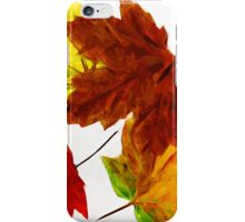 Autumn Leaves on White Abstract Impressionism iPhone Case/Skin