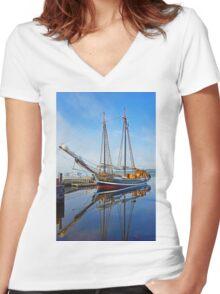 Tall Ship Larinda at Shelburne, Nova Scotia, Canada Women's Fitted V-Neck T-Shirt