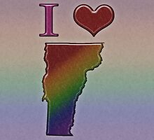 I Heart Vermont Rainbow Map - LGBT Equality by LiveLoudGraphic
