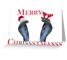 Merry Christmas Snakes In Antlers & Santa Hat Greeting Card