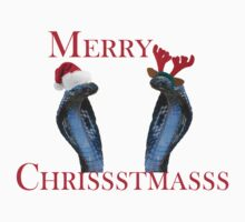 Merry Christmas Snakes In Antlers & Santa Hat One Piece - Short Sleeve