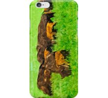 Wild American Bison With Calves Abstract Impressionism iPhone Case/Skin