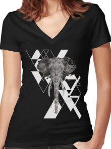 Geometric Elephant  Women's Fitted V-Neck T-Shirt