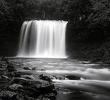 Sgwd yr Eira Waterfall B+W by ttrendell77