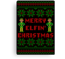 Merry Elfin Christmas Funny Ugly Sweater Shirt Canvas Print