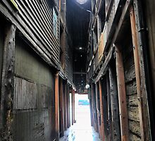 Bergen Harbour (7) -  Alleyways in Low Light and Rain by Larry Lingard-Davis