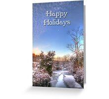 Happy Holidays Greeting - Moon Sky and Creek Greeting Card