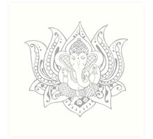 Lord Ganesha Lotus Art Print