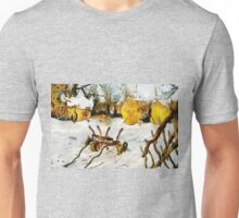 A digital painting of a Village Scene in Romania Unisex T-Shirt