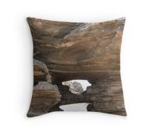 Spyholes through the aging rocks, the beach. Point Lonsdale. Throw Pillow