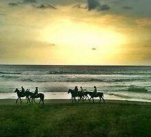 Horseback Riders on Batu Belig Beach by jaymephoto